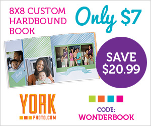 11434 22859931 8x8 Custom Hardbound Photo Book only $7 at York Photo! (reg $27.99)
