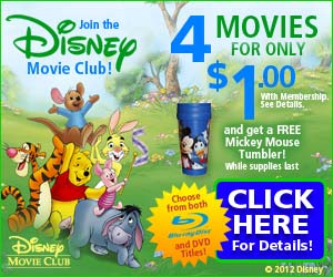 4 Disney DVDs for $1.00 and FREE SHIPPING 