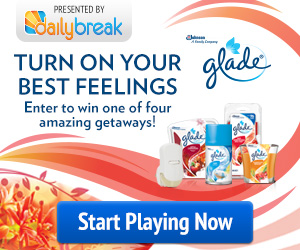13204 GLADE 300x250 Enter to Win a Getaway and Print a $1 Glade Coupon!