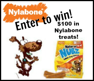 Enter the Nylabone Nubz $100 Giveaway. Ends 5/31