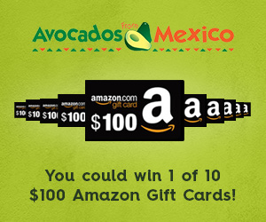 Avocados from Mexico is giving away ten $100 Amazon Gift cards. Click Here to sign up and enter
