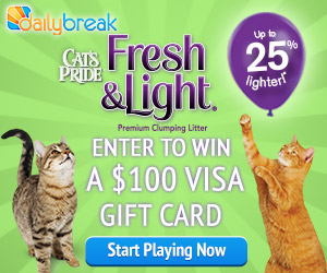 Win a $100 Visa Card or a bag of Cat's Pride Cat Litter