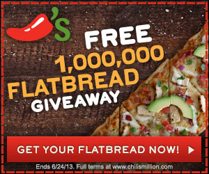 Get free flatbread from Chili's